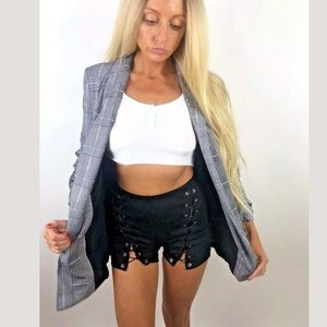NWT Boom Boom Black Gray Open Front Blazer Jacket